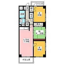 ハイツ秋桜[3階]の間取り