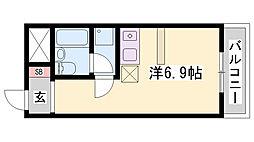 山陽電鉄本線 大塩駅 徒歩2分の賃貸マンション 3階ワンルームの間取り