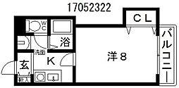 プレイスガーデン帝塚山[6階]の間取り