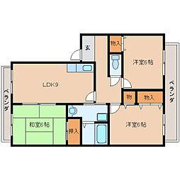 奈良県奈良市二条大路南の賃貸アパートの間取り
