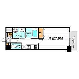 Osaka Metro堺筋線 南森町駅 徒歩7分の賃貸マンション 9階1Kの間取り