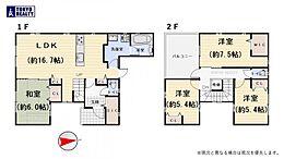 参考プラン価格1600万円、延床面積103.78平米、4LDK車庫