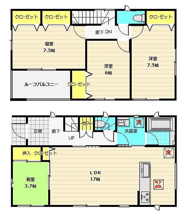 広々4LDKの間取りは、家族が増えても住み続けられるお家。