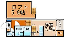 愛知県名古屋市西区江向町5丁目の賃貸アパートの間取り