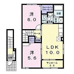 ノースホール 2階2LDKの間取り
