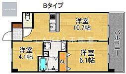 Osaka Metro堺筋線 天下茶屋駅 徒歩5分の賃貸マンション 4階2LDKの間取り