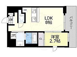 阪急千里線 吹田駅 徒歩10分の賃貸マンション 2階1LDKの間取り