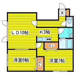北海道札幌市東区北二十八条東7丁目の賃貸アパートの間取り