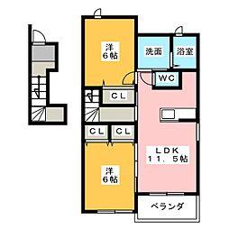 コンフォート江松[2階]の間取り