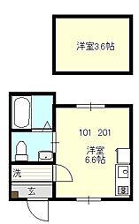 ベイルーム戸塚II[201号室号室]の間取り