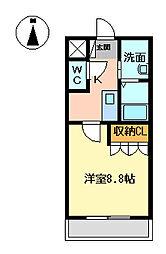 西鉄天神大牟田線 三潴駅 徒歩14分の賃貸アパート 2階1Kの間取り