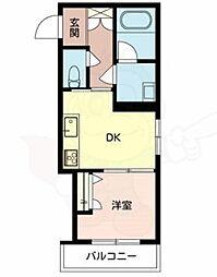 JR阪和線 鳳駅 徒歩3分の賃貸マンション 1階1DKの間取り