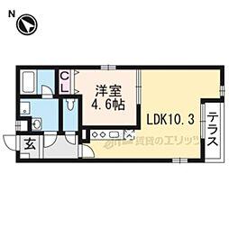 JR東海道・山陽本線 岸辺駅 徒歩7分の賃貸アパート 1階1LDKの間取り
