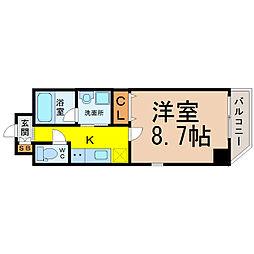 名古屋市営名城線 大曽根駅 徒歩4分の賃貸マンション 8階1Kの間取り