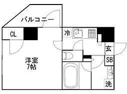 都営大江戸線 牛込柳町駅 徒歩5分の賃貸マンション 7階1Kの間取り