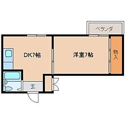 奈良県天理市指柳町の賃貸マンションの間取り