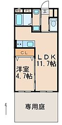 ASAマンション 1階1LDKの間取り