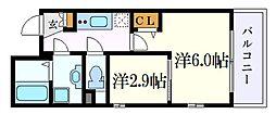 名古屋市営東山線 中村日赤駅 徒歩5分の賃貸マンション 4階2Kの間取り
