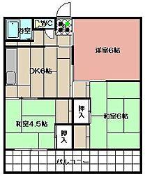 サングリーン中本町[305号室]の間取り