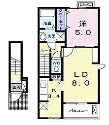 埼玉県川越市大塚新町の賃貸アパートの間取り