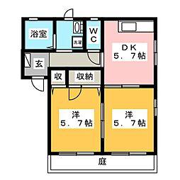 ブエナ雁宿[1階]の間取り
