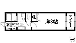 兵庫県伊丹市松ケ丘2丁目の賃貸アパートの間取り