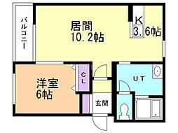セゾンクレールIII 4階1LDKの間取り