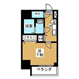 エスプレイス鶴舞ガーデンテラス 10階1Kの間取り