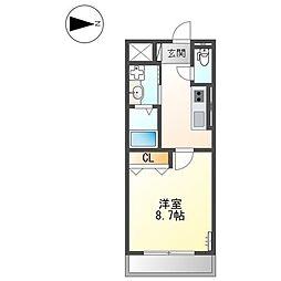 フルハウス黒田II 2階1Kの間取り