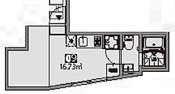 Matsubara Terrace 1階ワンルームの間取り