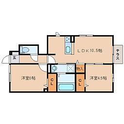 近鉄天理線 二階堂駅 徒歩9分の賃貸アパート 1階2LDKの間取り