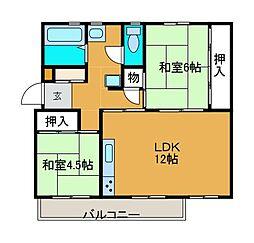 麻生台団地22号棟[1階]の間取り