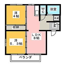 ヒルズTAKI 2[2階]の間取り