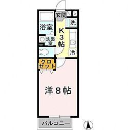 MORIMAWARI  WEST[206号室号室]の間取り
