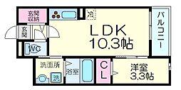プランドール高槻 3階1LDKの間取り