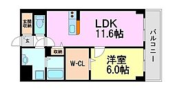 兵庫県尼崎市東園田町4丁目の賃貸マンションの間取り