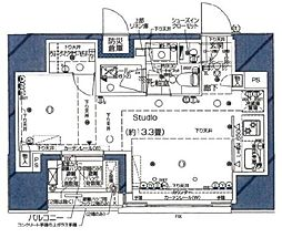 都営大江戸線 汐留駅 徒歩7分の賃貸マンション 3階ワンルームの間取り