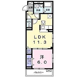 つくばエクスプレス 柏たなか駅 徒歩8分の賃貸アパート 1階1LDKの間取り
