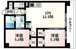 JR東海道・山陽本線 新大阪駅 徒歩9分の賃貸マンション 3階2LDKの間取り
