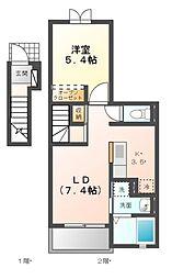 愛知県名古屋市天白区植田南2丁目の賃貸アパートの間取り