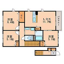 奈良県奈良市五条西の賃貸アパートの間取り