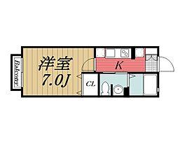 千葉県千葉市若葉区西都賀3丁目の賃貸アパートの間取り