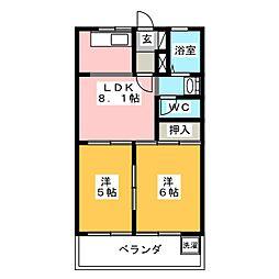 メゾンUセブンスター D[2階]の間取り