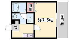 JR播但線 野里駅 徒歩29分の賃貸アパート 1階1Kの間取り