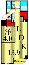 つくばエクスプレス 浅草駅 徒歩10分の賃貸マンション 4階1LDKの間取り