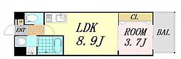 V-ランコントル吹田 2階1LDKの間取り