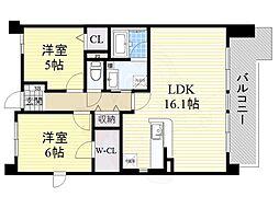 北大阪急行電鉄 桃山台駅 徒歩20分の賃貸マンション 6階2LDKの間取り