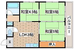 兵庫県神戸市長田区六番町6丁目の賃貸マンションの間取り