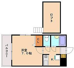 ビュークレスト三宅[3階]の間取り