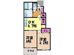 愛媛県伊予郡砥部町原町の賃貸アパートの間取り